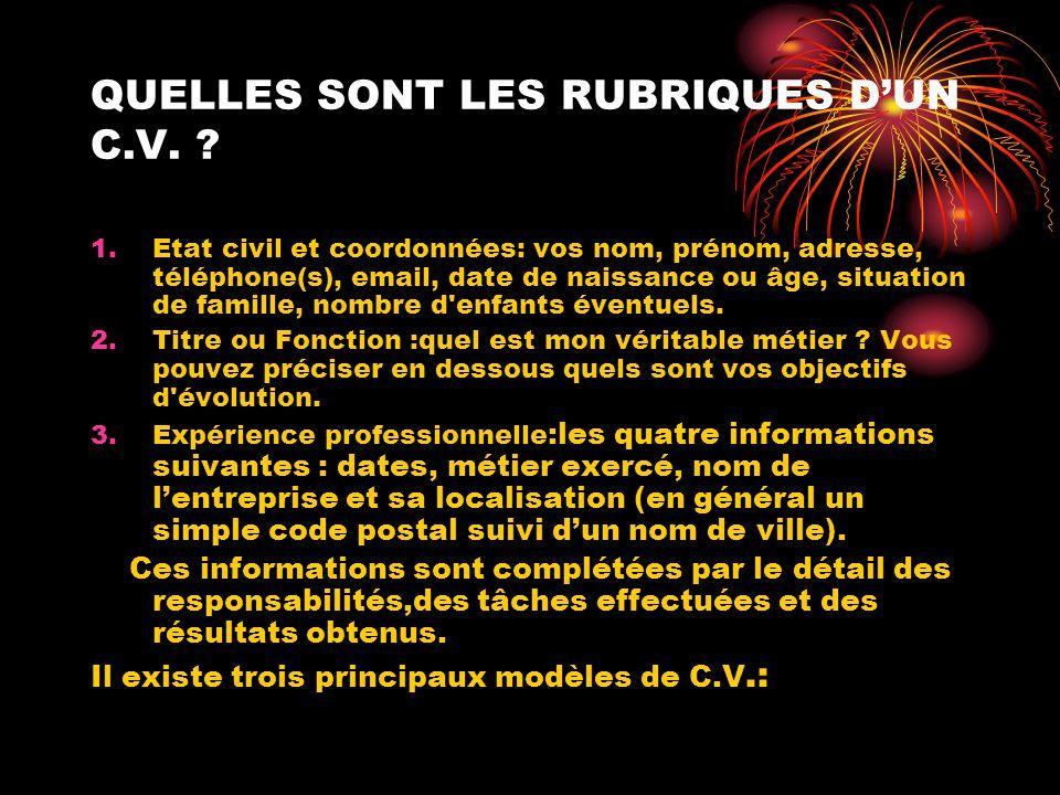 QUELLES SONT LES RUBRIQUES D'UN C.V.