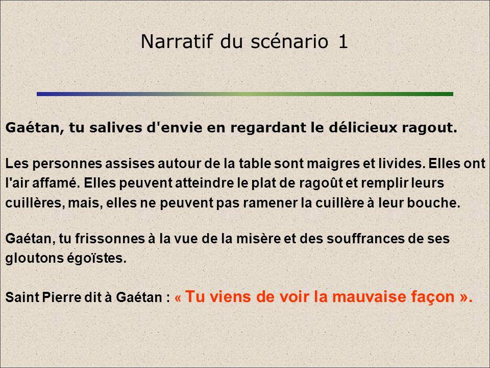 Narratif du scénario 1 Gaétan, tu salives d envie en regardant le délicieux ragout.