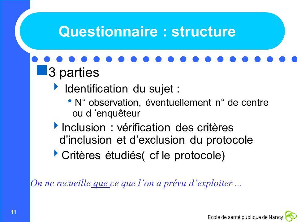 Questionnaire : structure