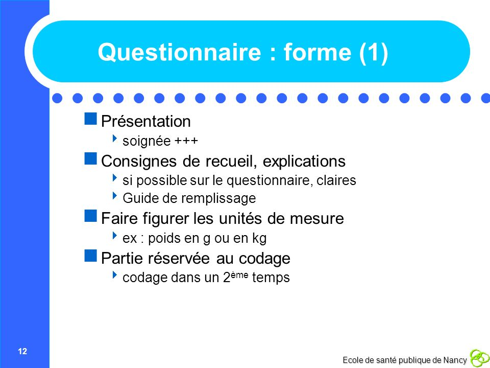 Questionnaire : forme (1)