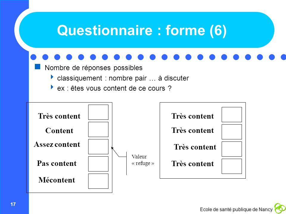 Questionnaire : forme (6)