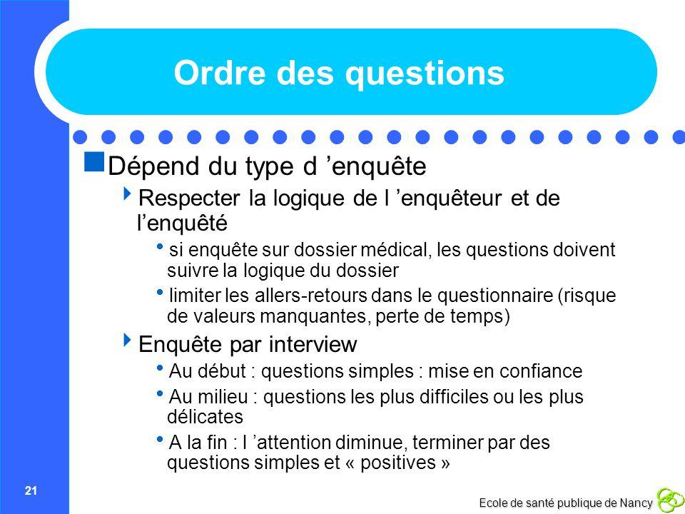 Ordre des questions Dépend du type d 'enquête