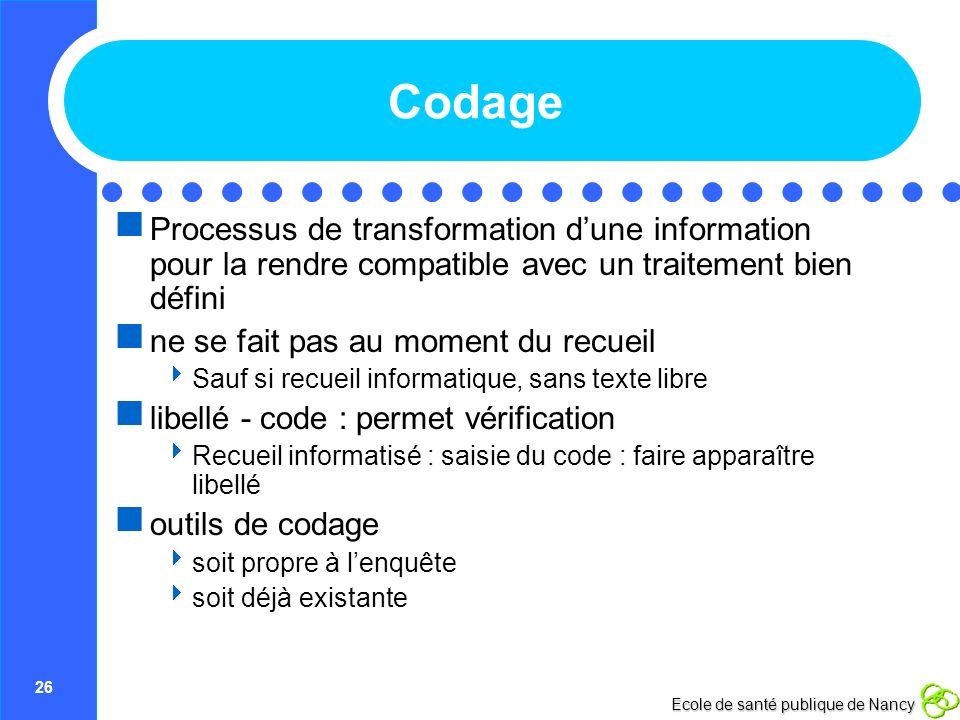 Codage Processus de transformation d'une information pour la rendre compatible avec un traitement bien défini.