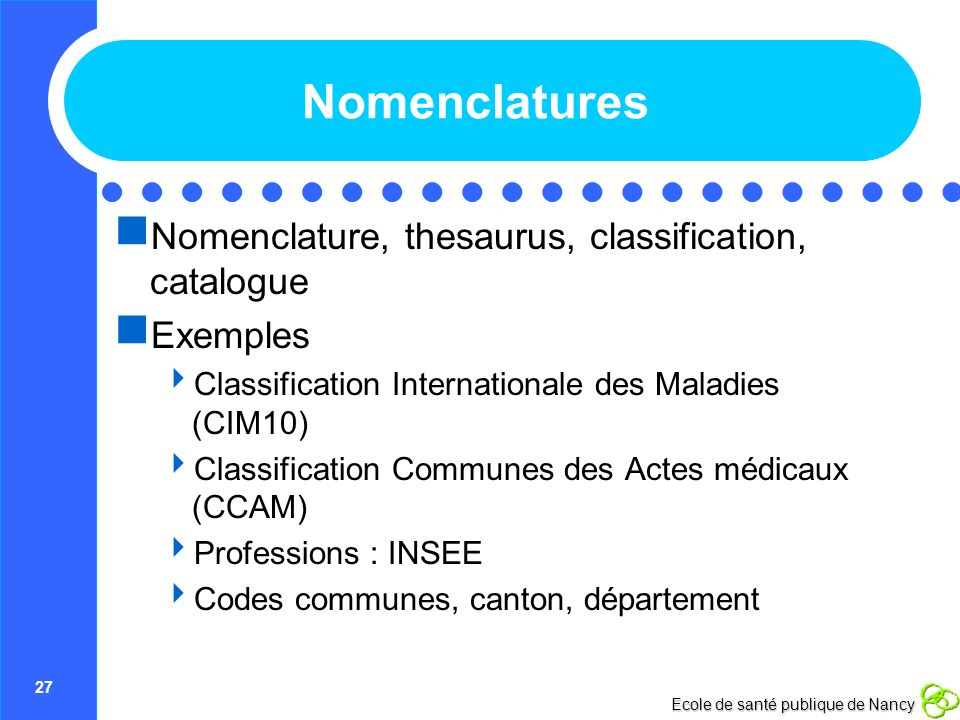 Nomenclatures Nomenclature, thesaurus, classification, catalogue