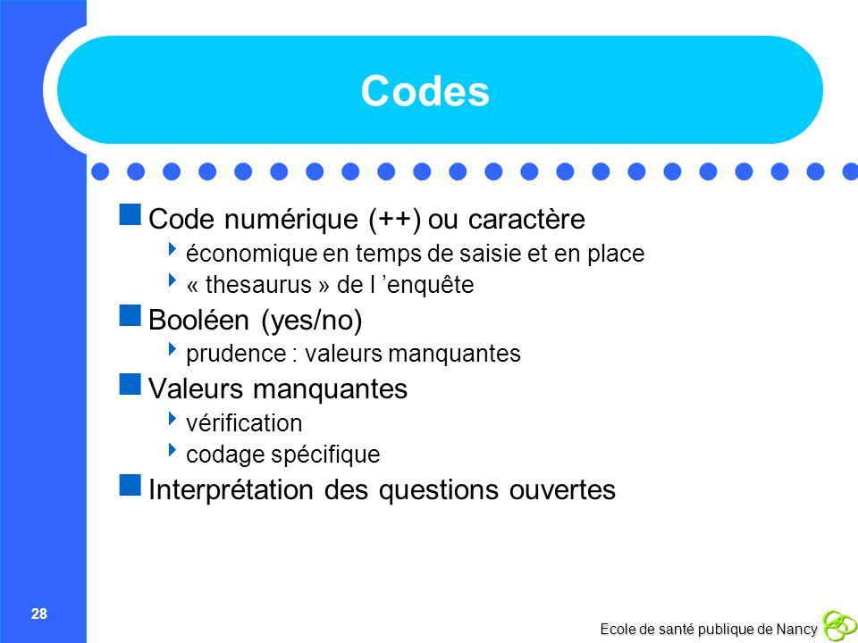 Codes Code numérique (++) ou caractère Booléen (yes/no)