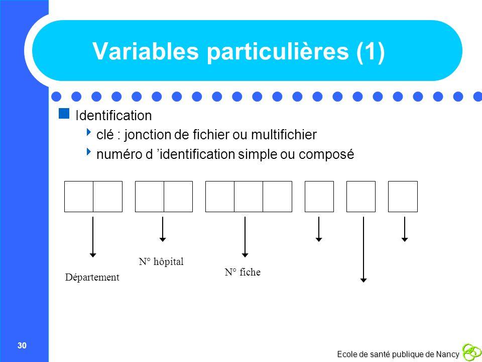 Variables particulières (1)