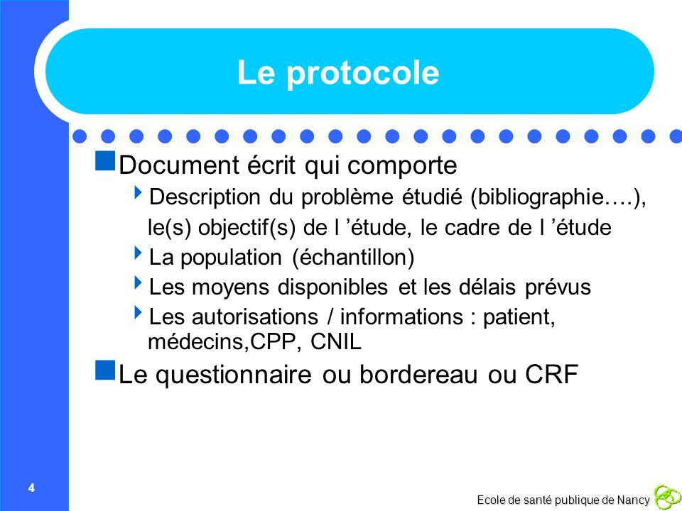 Le protocole Document écrit qui comporte