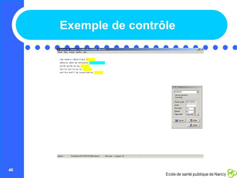 Exemple de contrôle