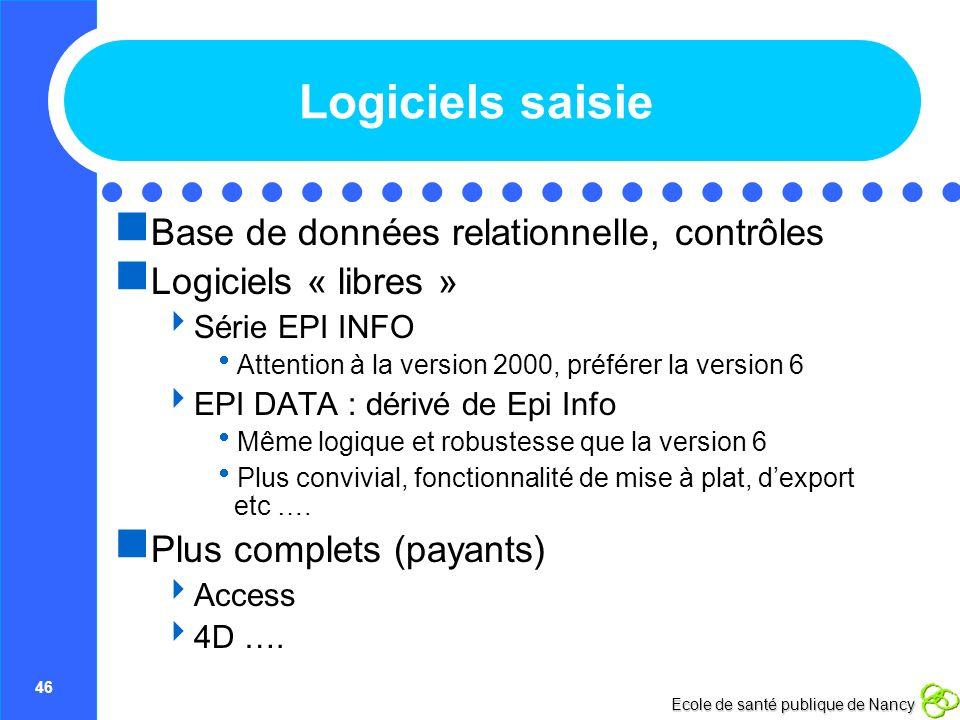 Logiciels saisie Base de données relationnelle, contrôles