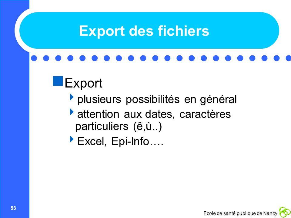 Export des fichiers Export plusieurs possibilités en général