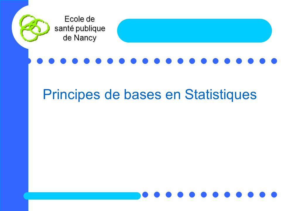 Principes de bases en Statistiques