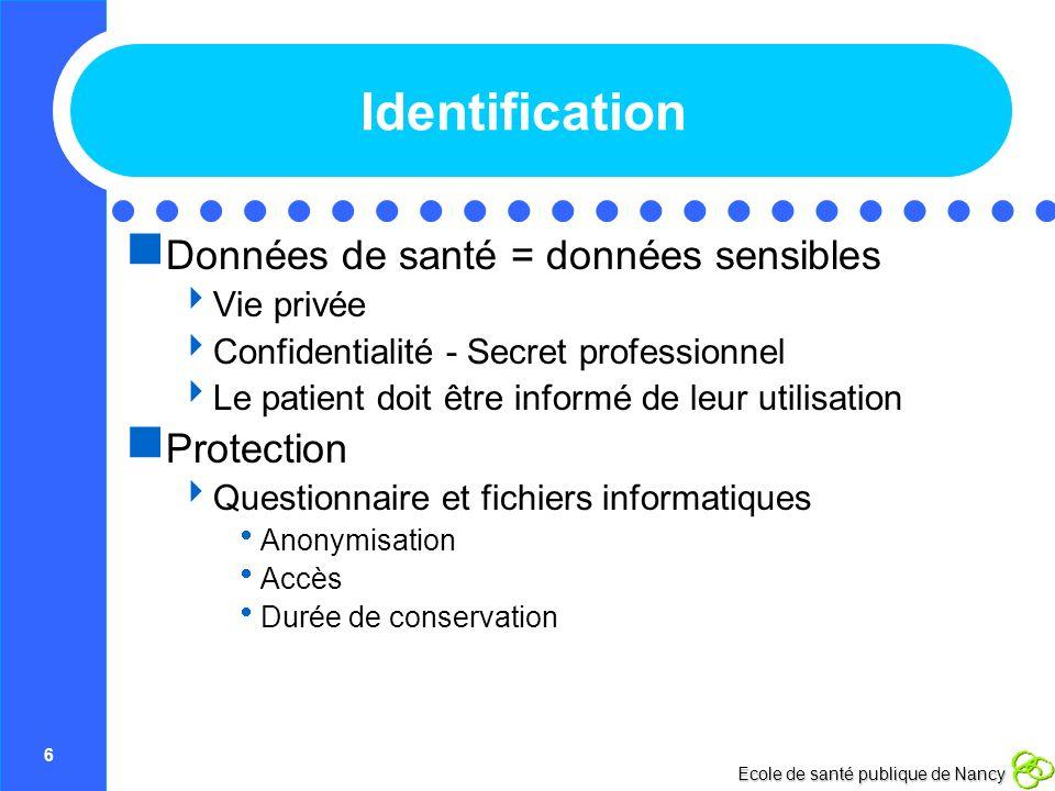 Identification Données de santé = données sensibles Protection