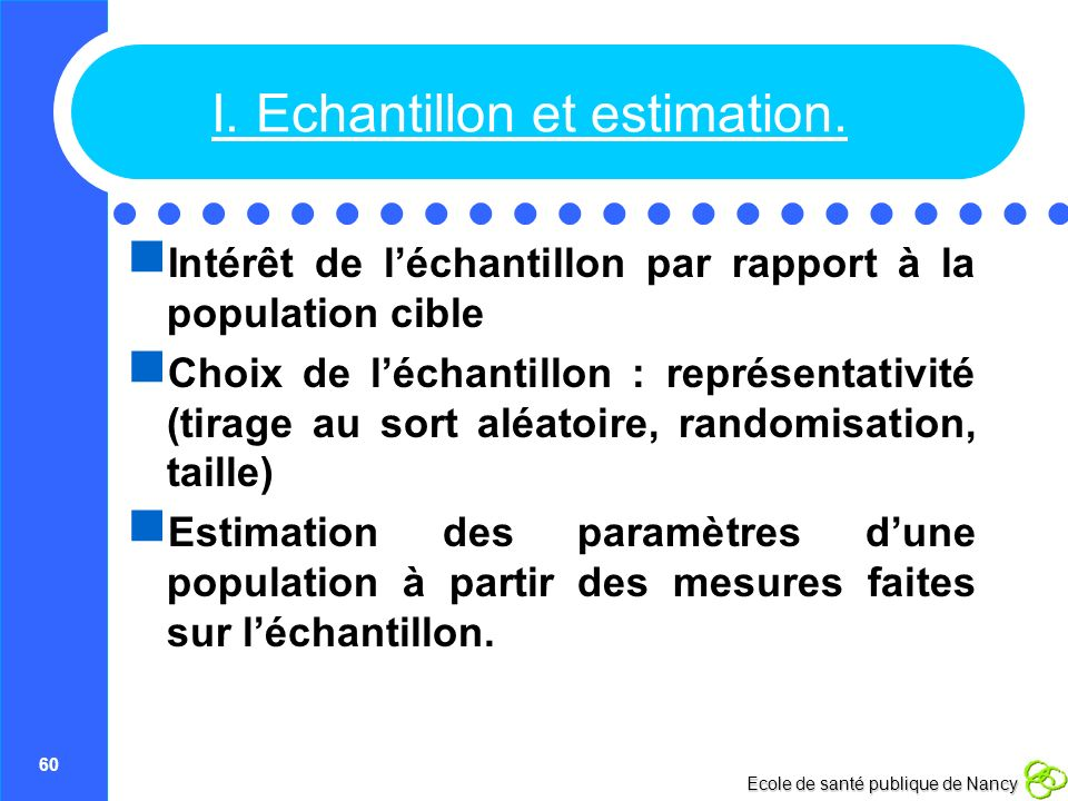 I. Echantillon et estimation.