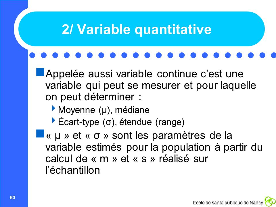 2/ Variable quantitative