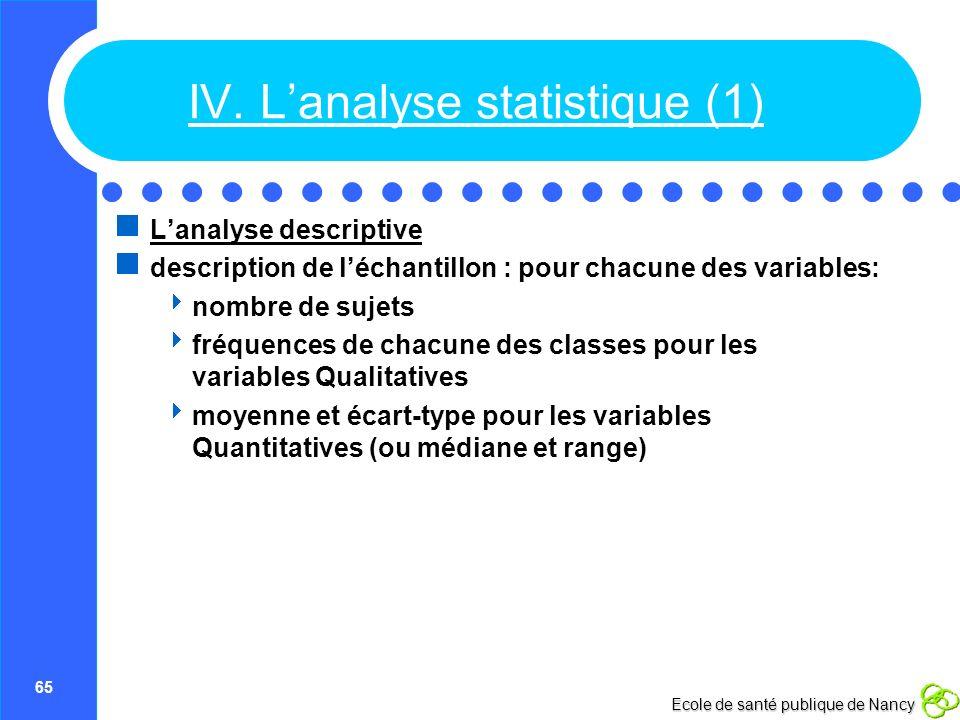 IV. L'analyse statistique (1)