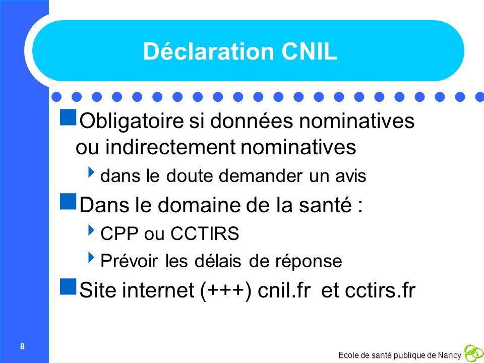 Déclaration CNIL Obligatoire si données nominatives ou indirectement nominatives. dans le doute demander un avis.