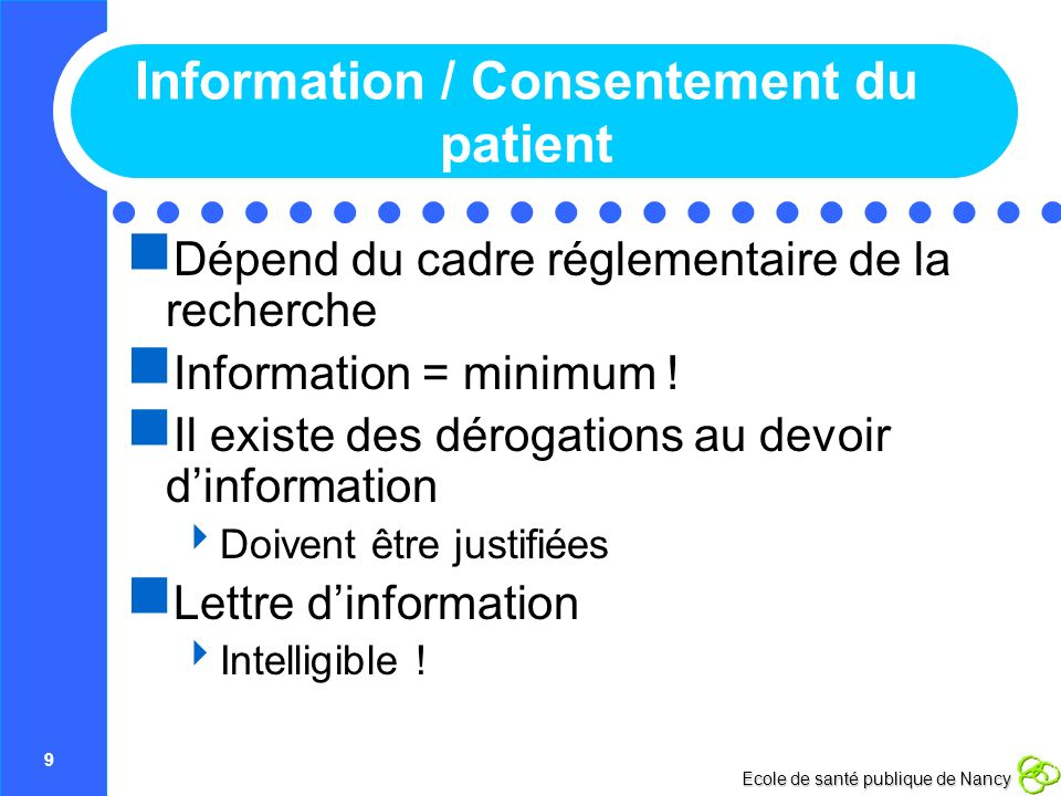 Information / Consentement du patient