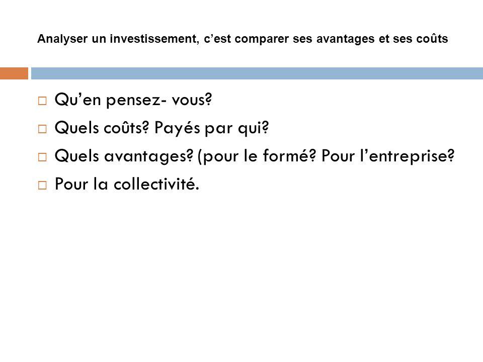 Analyser un investissement, c'est comparer ses avantages et ses coûts