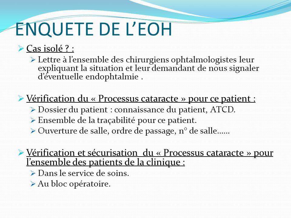 ENQUETE DE L'EOH Cas isolé :