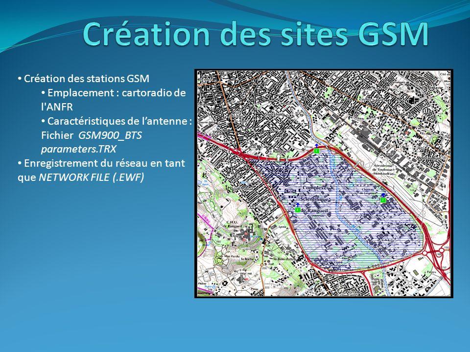 Création des sites GSM Création des stations GSM