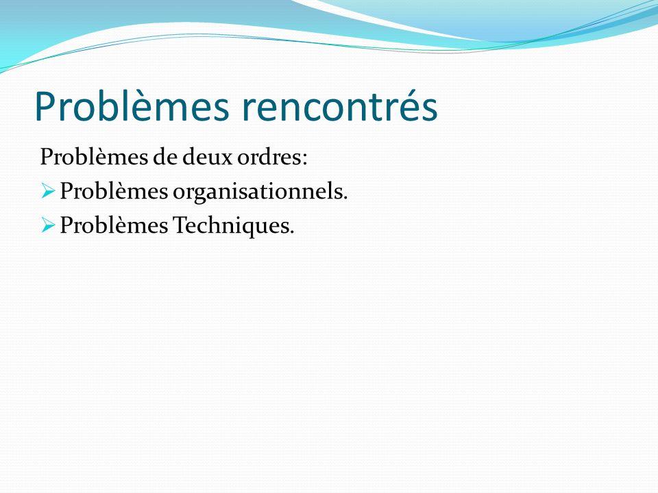 Problèmes rencontrés Problèmes de deux ordres: