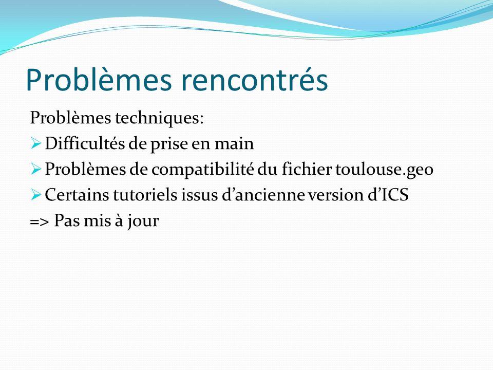 Problèmes rencontrés Problèmes techniques: