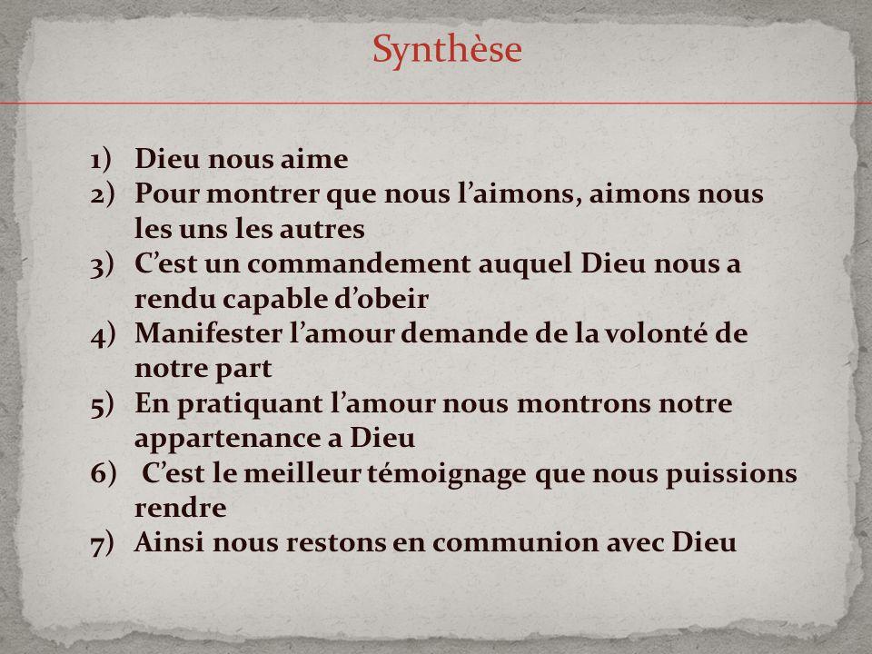 Synthèse Dieu nous aime