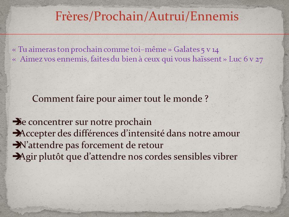 Frères/Prochain/Autrui/Ennemis