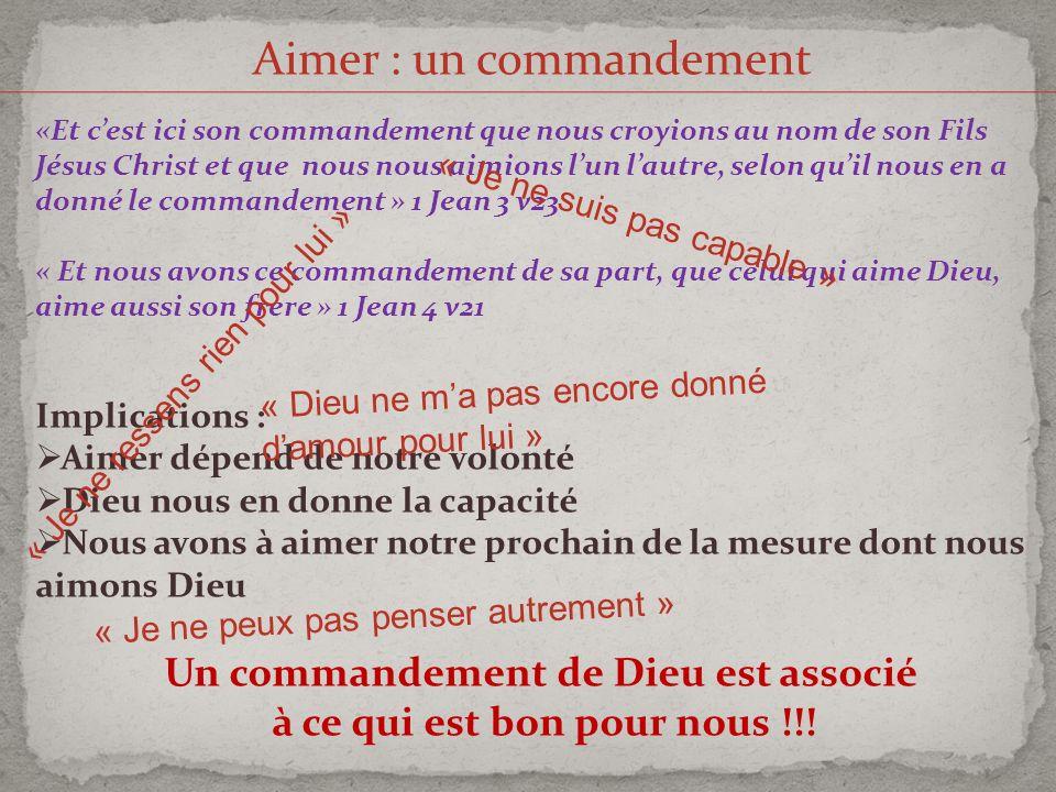 Un commandement de Dieu est associé à ce qui est bon pour nous !!!