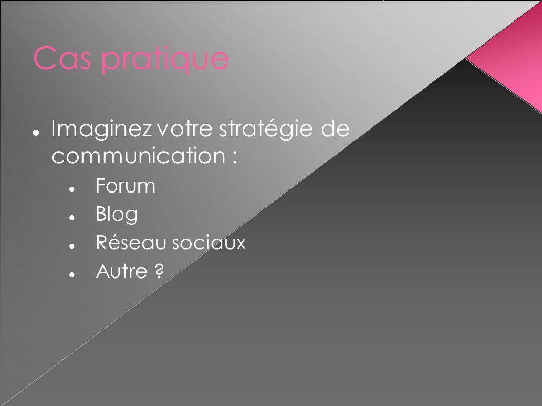 Cas pratique Imaginez votre stratégie de communication : Forum Blog