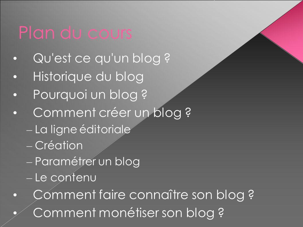 Plan du cours Qu est ce qu un blog Historique du blog