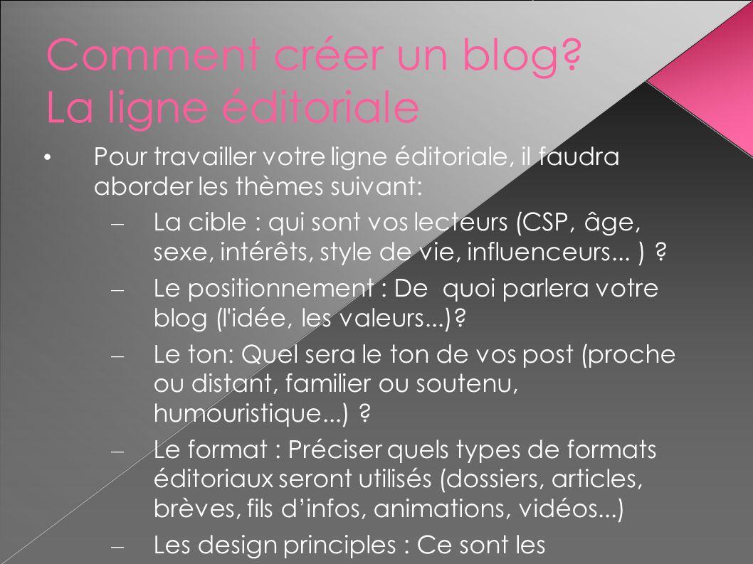 Comment créer un blog La ligne éditoriale