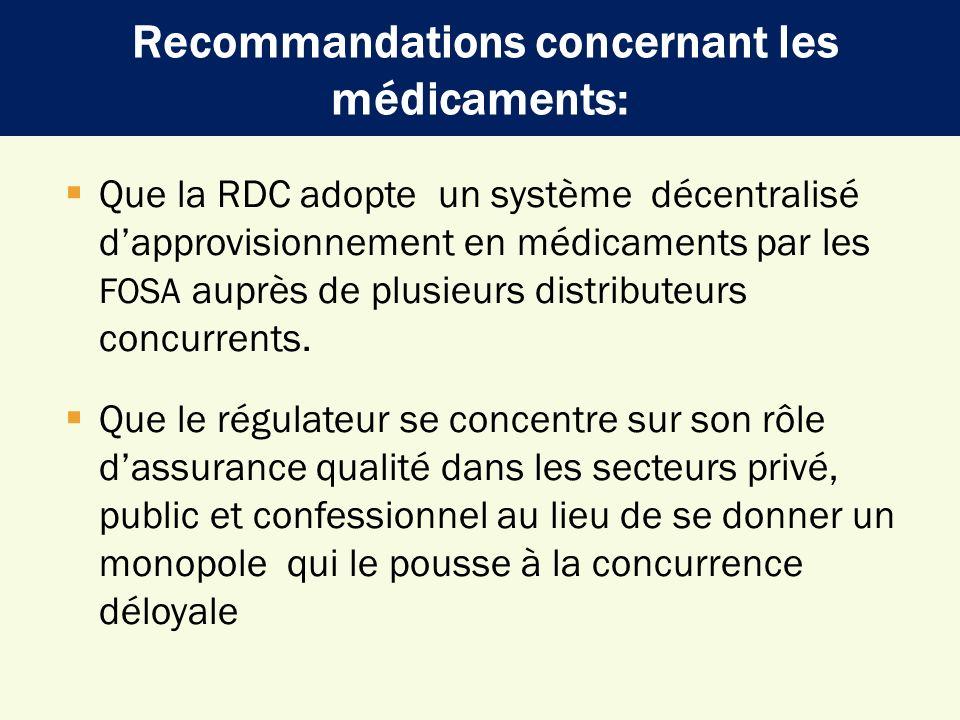 Recommandations concernant les médicaments: