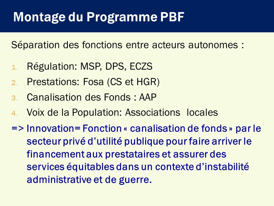 Montage du Programme PBF