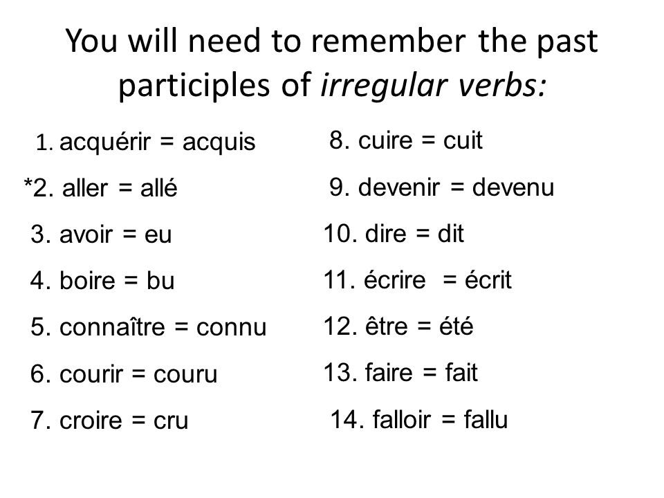 You will need to remember the past participles of irregular verbs: