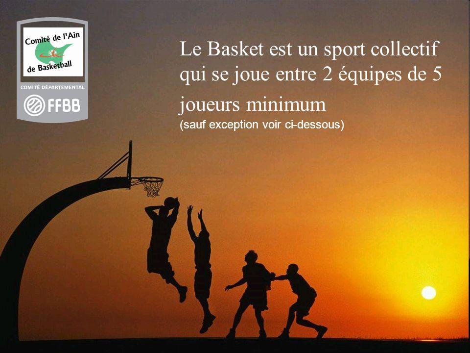 Le Basket est un sport collectif qui se joue entre 2 équipes de 5 joueurs minimum