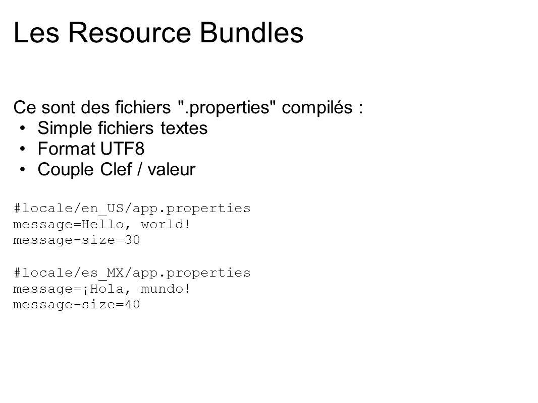 Les Resource Bundles Ce sont des fichiers .properties compilés :