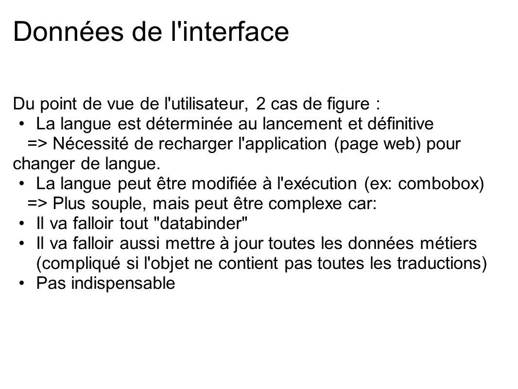 Données de l interface Du point de vue de l utilisateur, 2 cas de figure : La langue est déterminée au lancement et définitive.