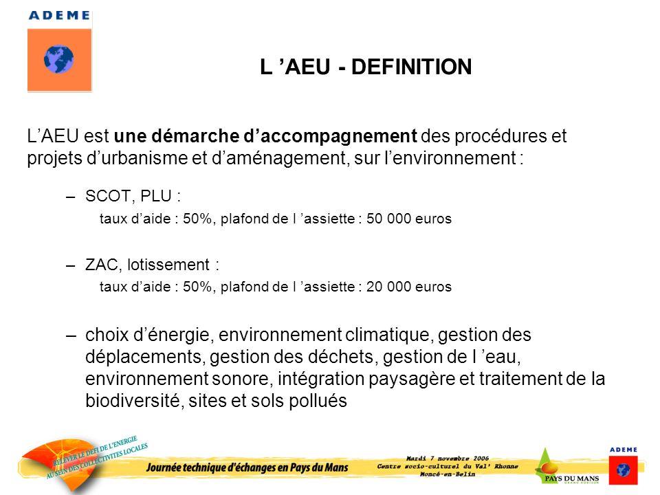 L 'AEU - DEFINITION L'AEU est une démarche d'accompagnement des procédures et projets d'urbanisme et d'aménagement, sur l'environnement :