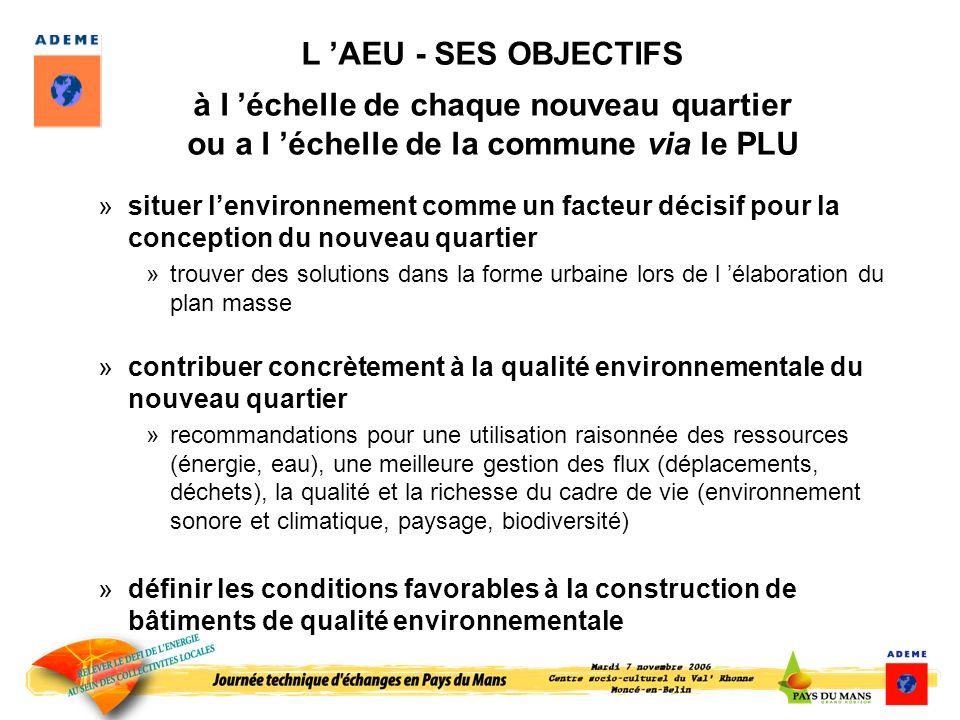 L 'AEU - SES OBJECTIFS à l 'échelle de chaque nouveau quartier ou a l 'échelle de la commune via le PLU