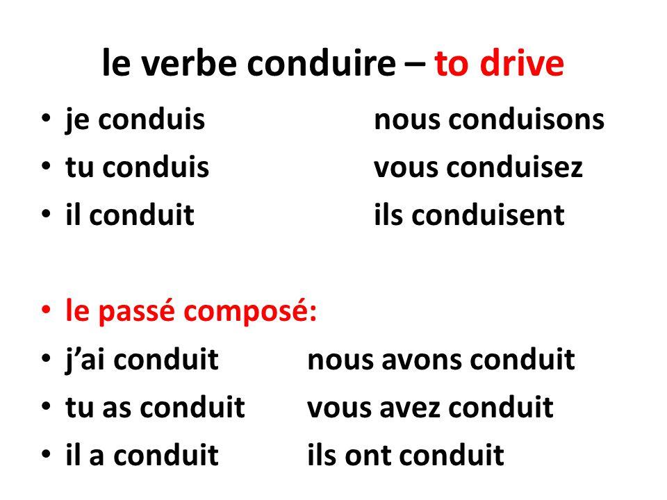 le verbe conduire – to drive