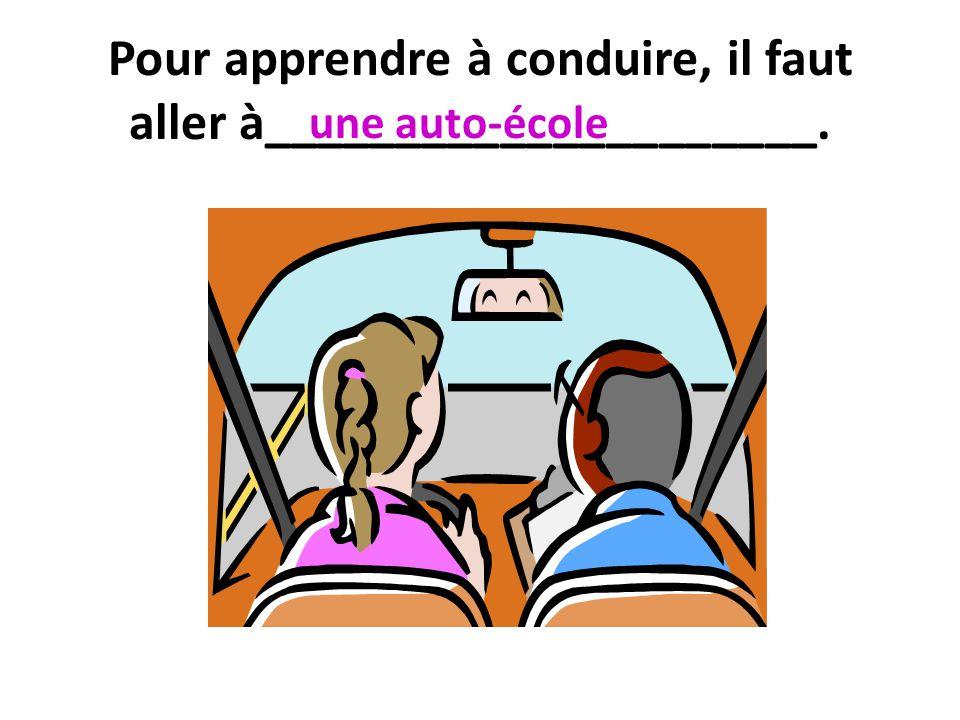 Pour apprendre à conduire, il faut aller à_____________________.