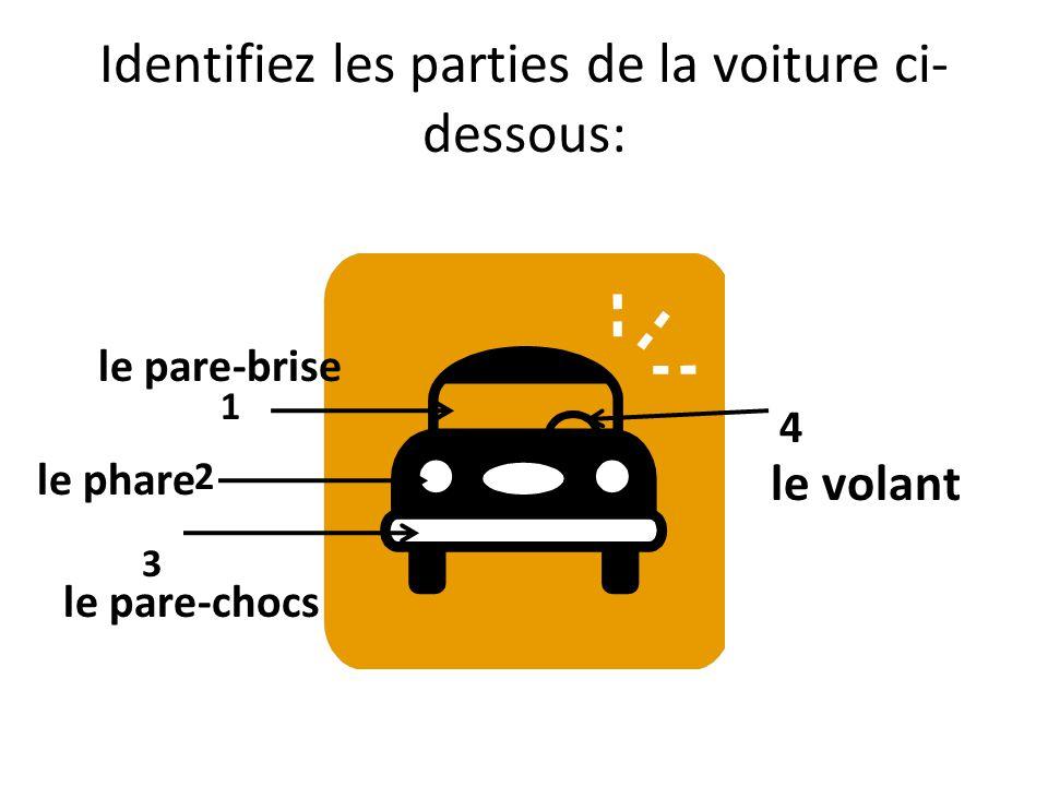 Identifiez les parties de la voiture ci-dessous: