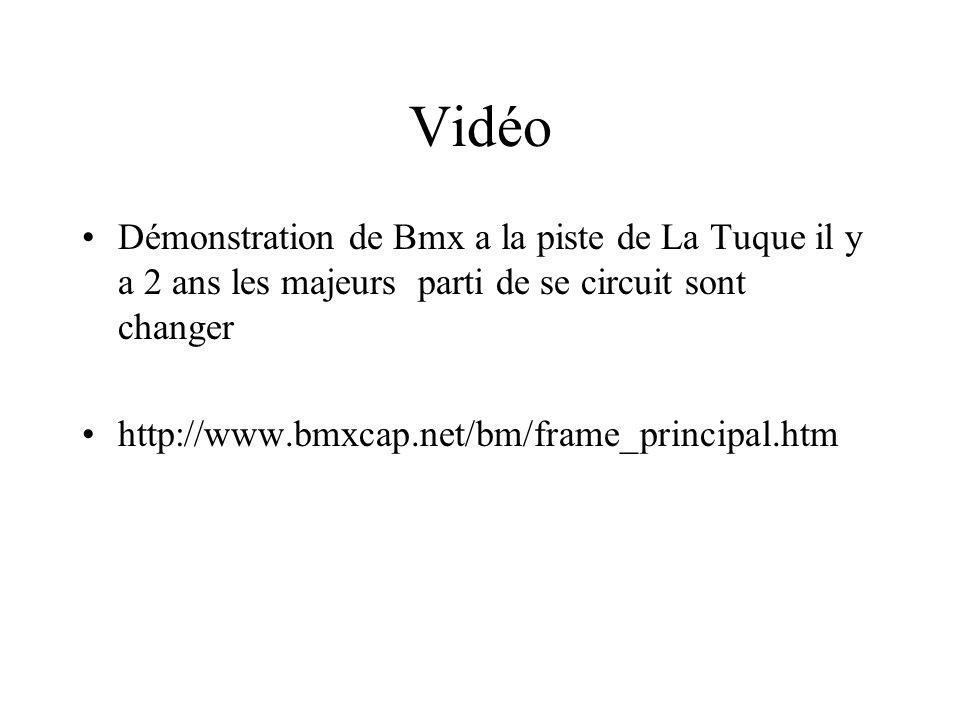 Vidéo Démonstration de Bmx a la piste de La Tuque il y a 2 ans les majeurs parti de se circuit sont changer.