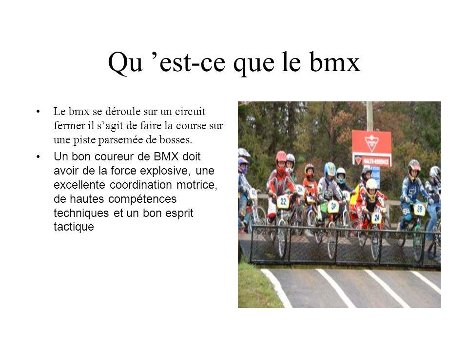 Qu 'est-ce que le bmx Le bmx se déroule sur un circuit fermer il s'agit de faire la course sur une piste parsemée de bosses.
