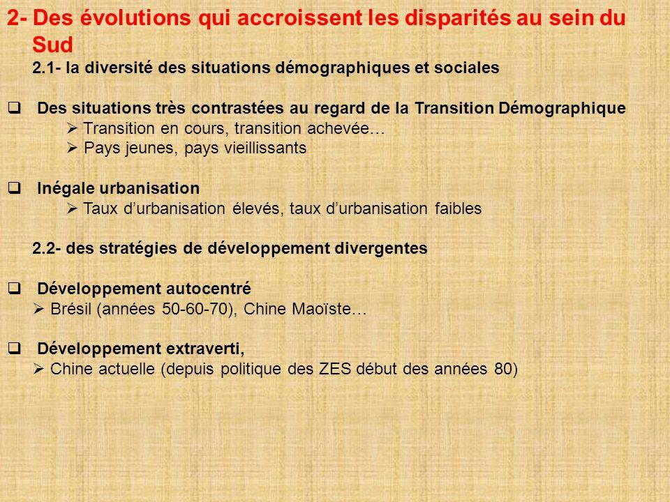 2- Des évolutions qui accroissent les disparités au sein du Sud