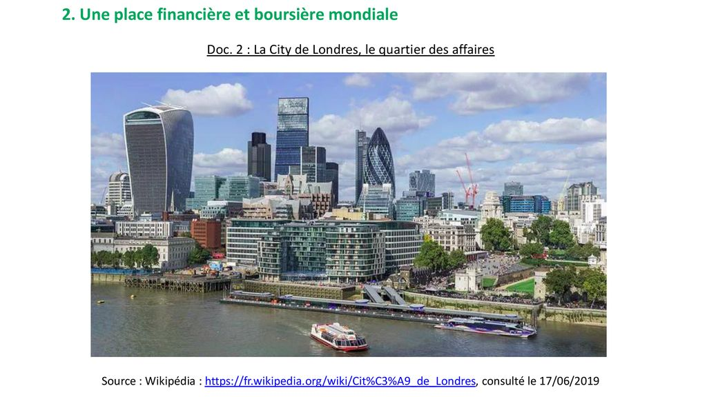 Doc. 2 : La City de Londres, le quartier des affaires