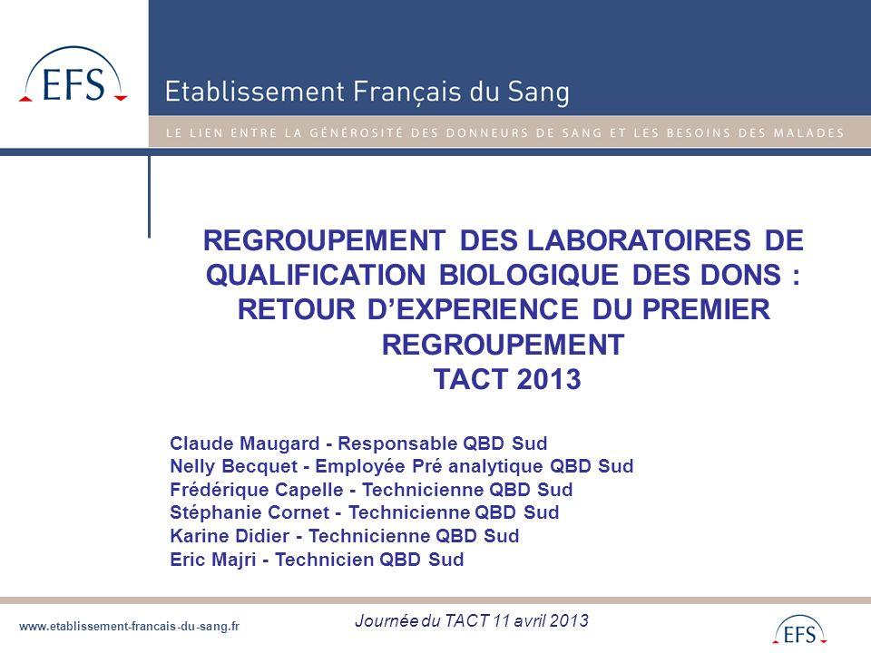 REGROUPEMENT DES LABORATOIRES DE QUALIFICATION BIOLOGIQUE DES DONS : RETOUR D'EXPERIENCE DU PREMIER REGROUPEMENT TACT 2013