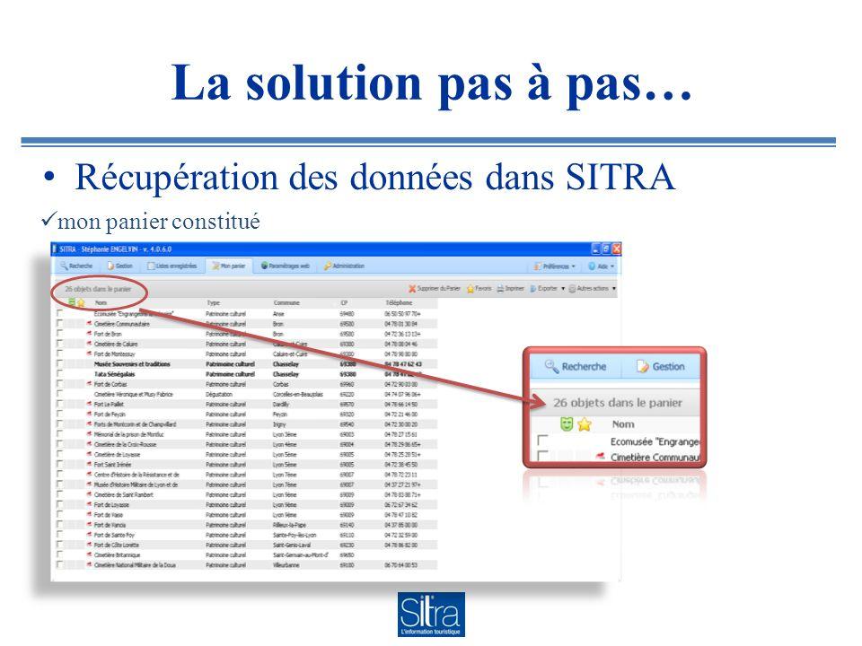 La solution pas à pas… Récupération des données dans SITRA
