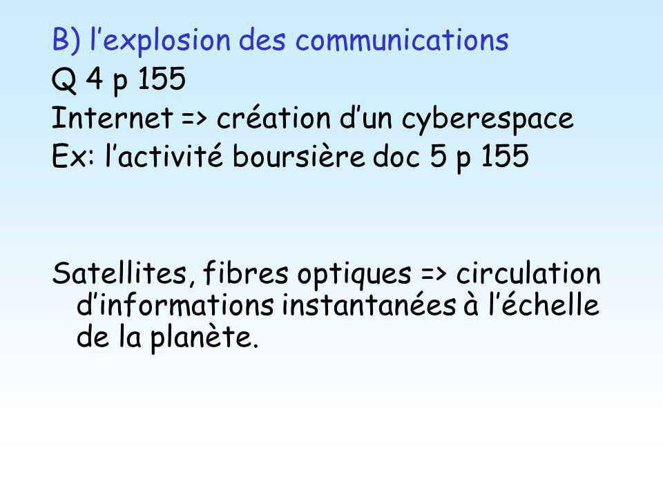 B) l'explosion des communications